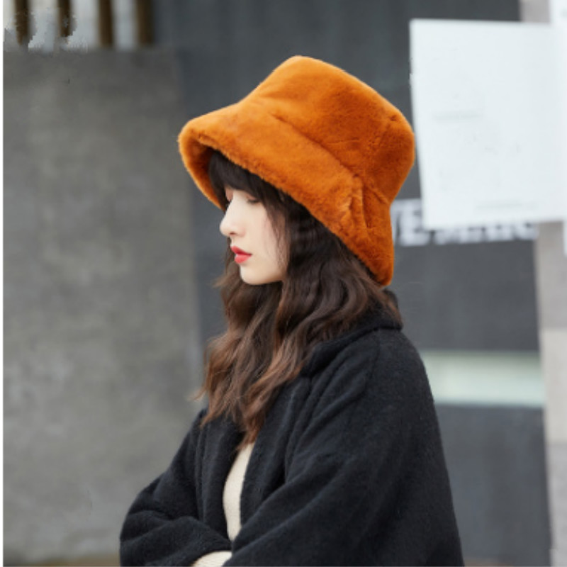 Bucket-Hat Cap Sunscreen Faux-Fur Panama Female Winter Outdoor Women Solid for High-Quality