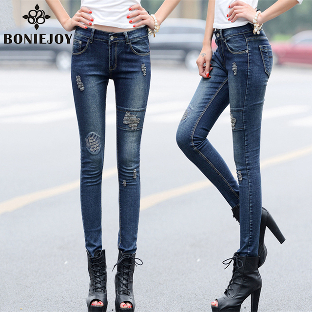 Mulheres calças de Brim Elásticas 2016 Novo Buraco Patchwork Calças Lápis Meados de Cintura Calças de Algodão jeans Stretch Skinny Jeans Rasgado Feminino