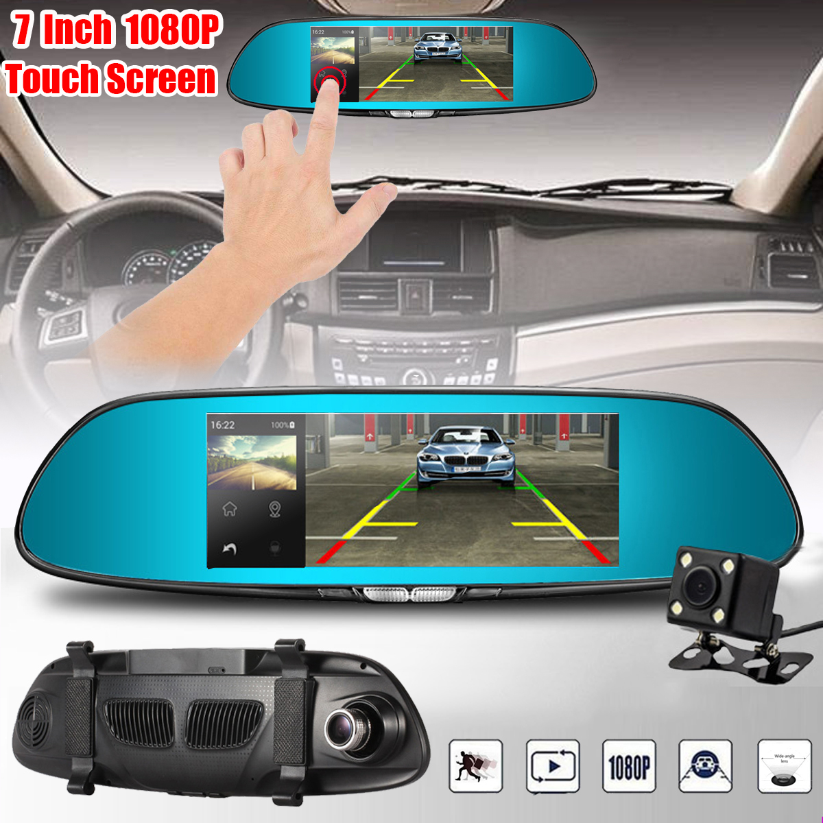 цены FHD 1080P 7 Inch Dual Lens Rear View Mirror Dash Reversing Camera DVR Car 170 Degree Touchable Car Camera Recorder Dash Cam