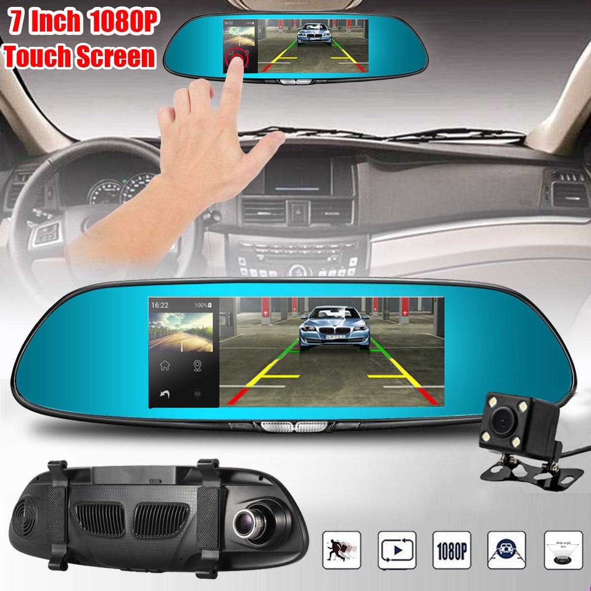 цены FHD 1080P 7 Inch Dual Lens Rear View Mirror Dash Reversing Camera DVR Car 170 Degree Touchable Car Camera Recorder Dash Cam