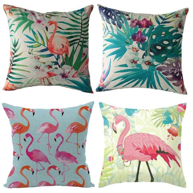 Funda de cojín de flamencos estampado Animal algodón Lino funda de almohada decorativa asiento cuadrado 45x45 cm funda de almohada textil para el hogar