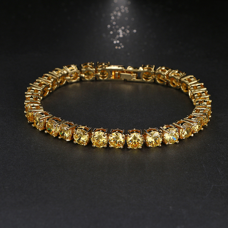 Emmaya Luxury Round Cut Cubic Zircon Bracelet Romantic Plated Yellow AAA Cubic Zirconia Bride Wedding Bracelet