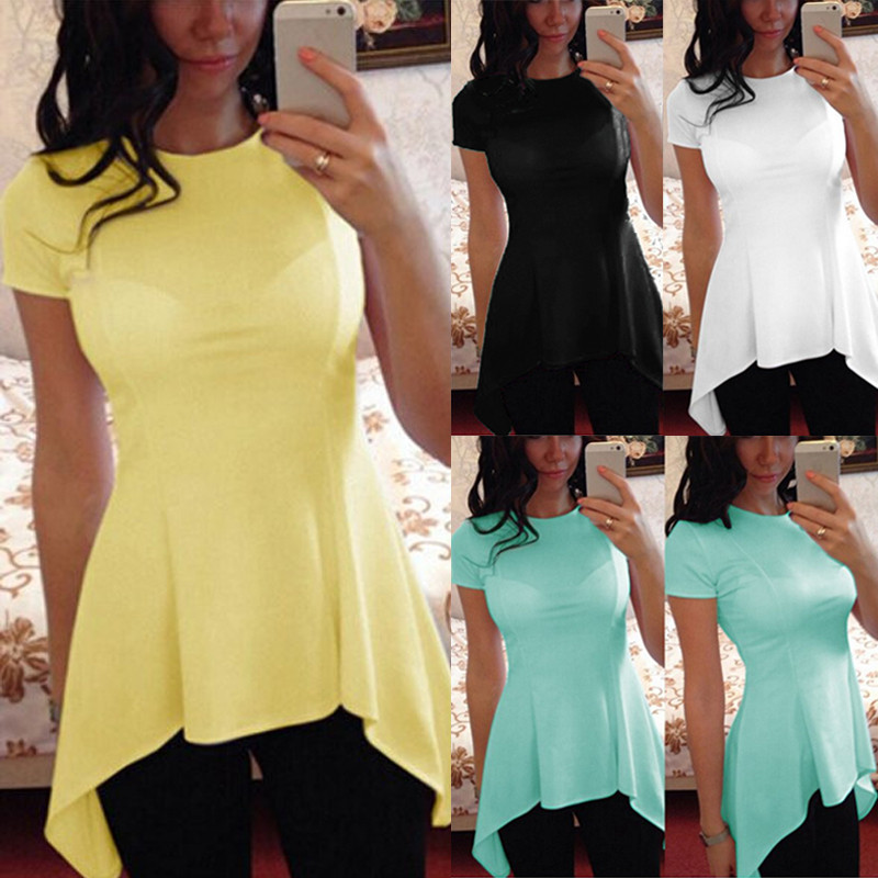 2020 New Women Summer Blouse Casual O Neck Short Sleeve Peplum Waist Blusas Sexy Slim Irregular Hem Tops Shirts Oversized S-4XL