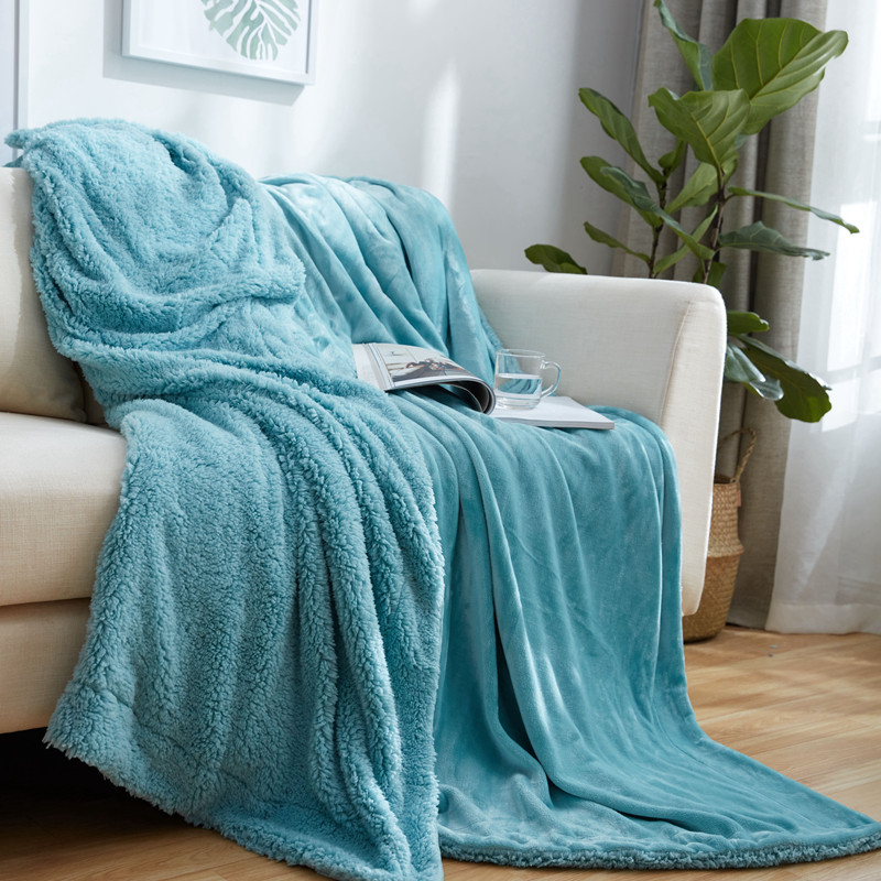 blue Solid color Brand 2 Layers Sherpa Blankets Christmas Gift Warm white Berber Fleece Blanket on the Bed Throws for Sofa soft