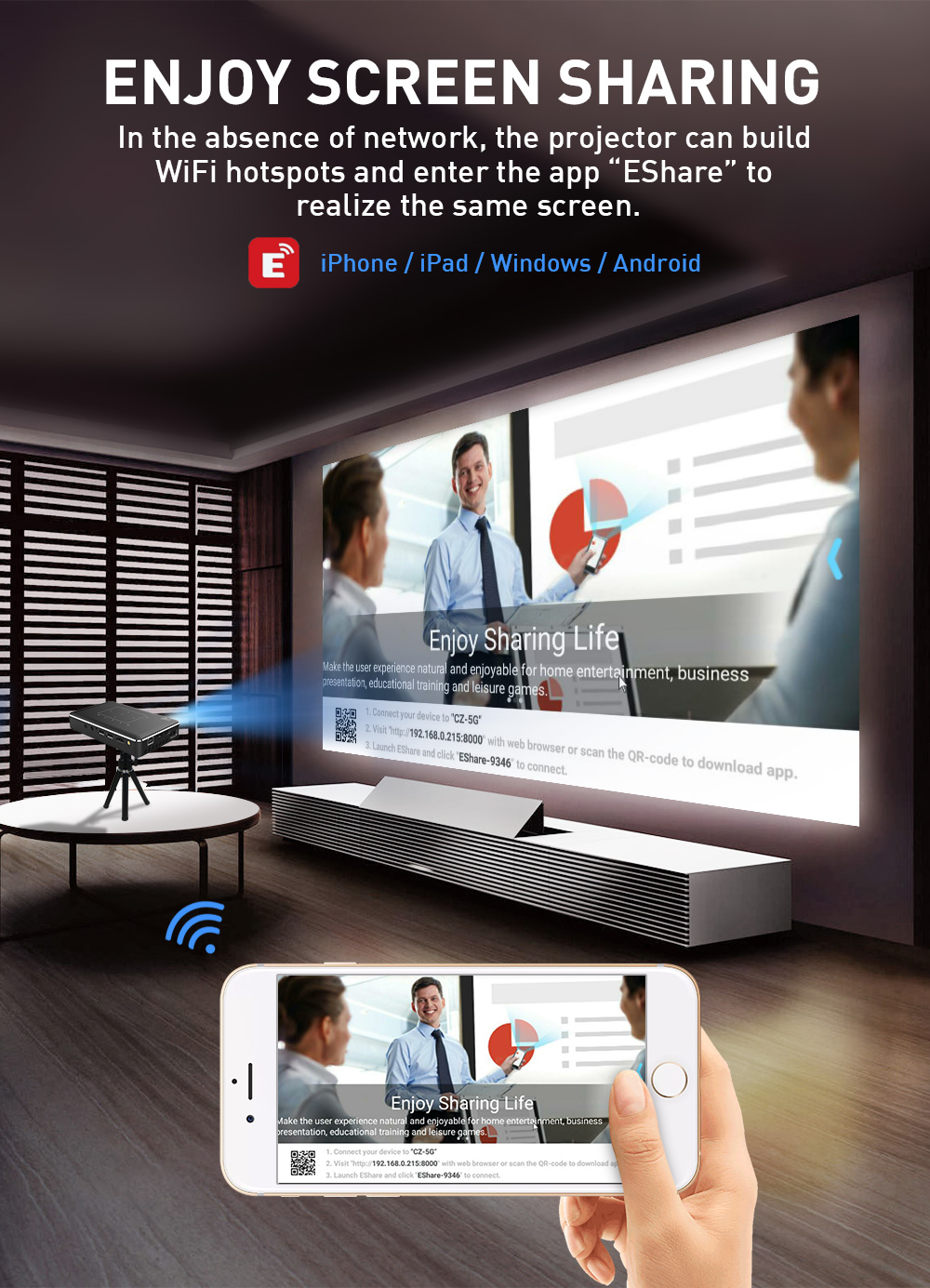 Smart 4K-Full-HD-1080P-LED Android Projector