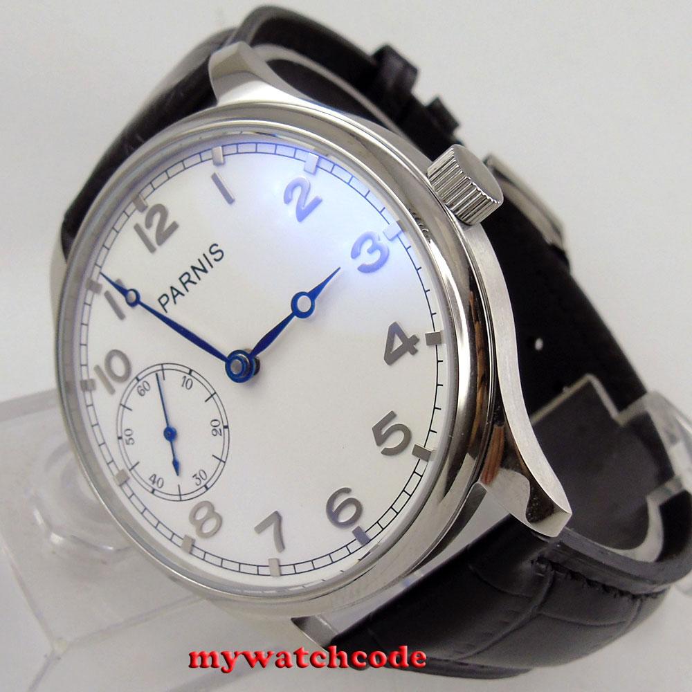 591e26fd94f 44mm parnis mostrador branco de prata marca mão enrolamento 6497 movimento  mens watch P28B