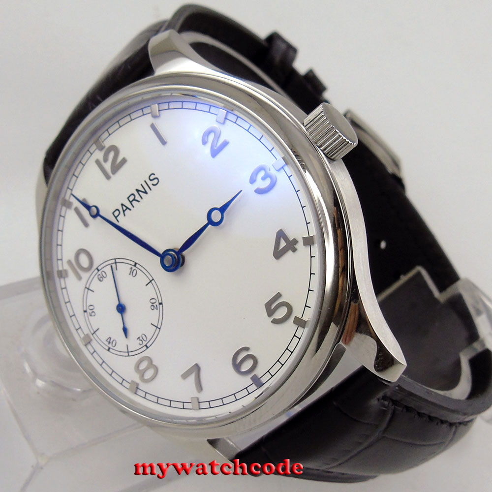 95ba769ee31 44mm parnis mostrador branco de prata marca mão enrolamento 6497 movimento  mens watch P28B