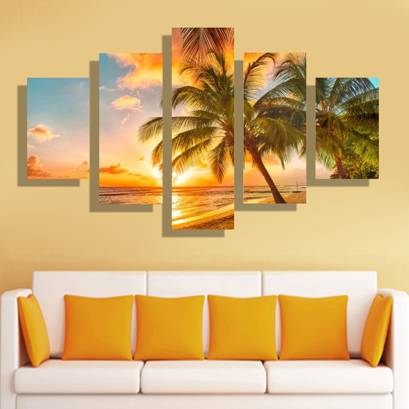 Aliexpress Buy 5 Pcs Set Canvas Printings Modern Home Living Room Decoration High Definition Pictures Art Wall Theme Palm Beach Free Shipping From