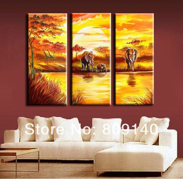 African Yellow Landscape oil painting canva Elephant high quality ...