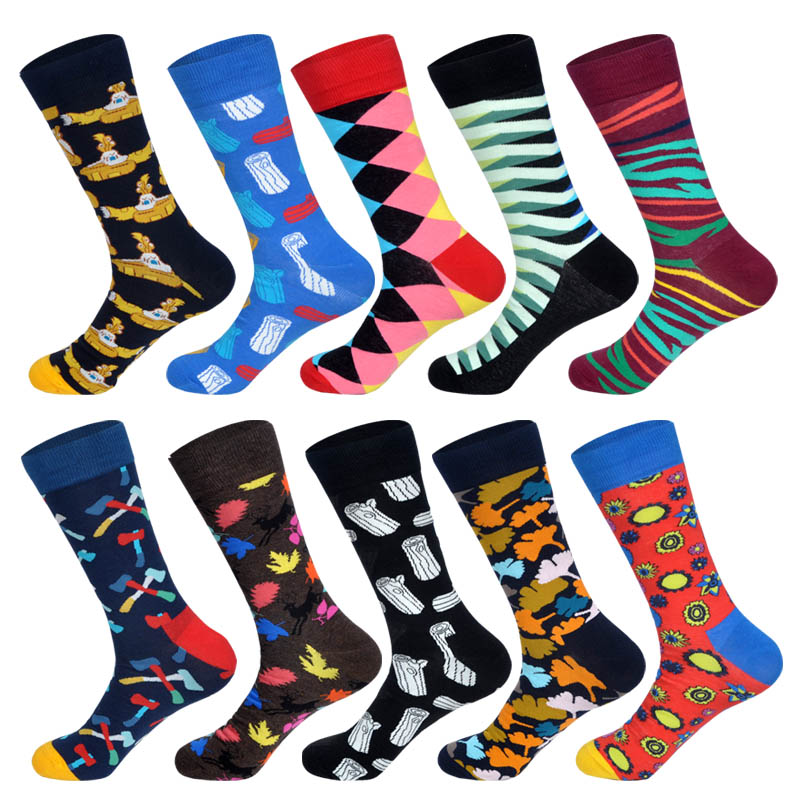 Mens Funny Colorful Combed Cotton Happy Socks Axe Maple Leaf Plaid Dot Submarine Pattern Spring Art Socks