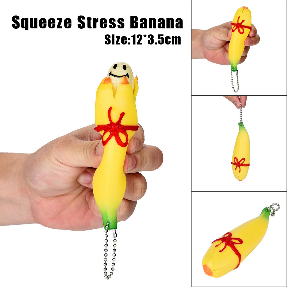 Squishy antistress Oyuncak speelgoed 11cm Novelty Squishy Funny Silicone Banana Squeeze Toy Stress Reliever Toy Keychain Cure