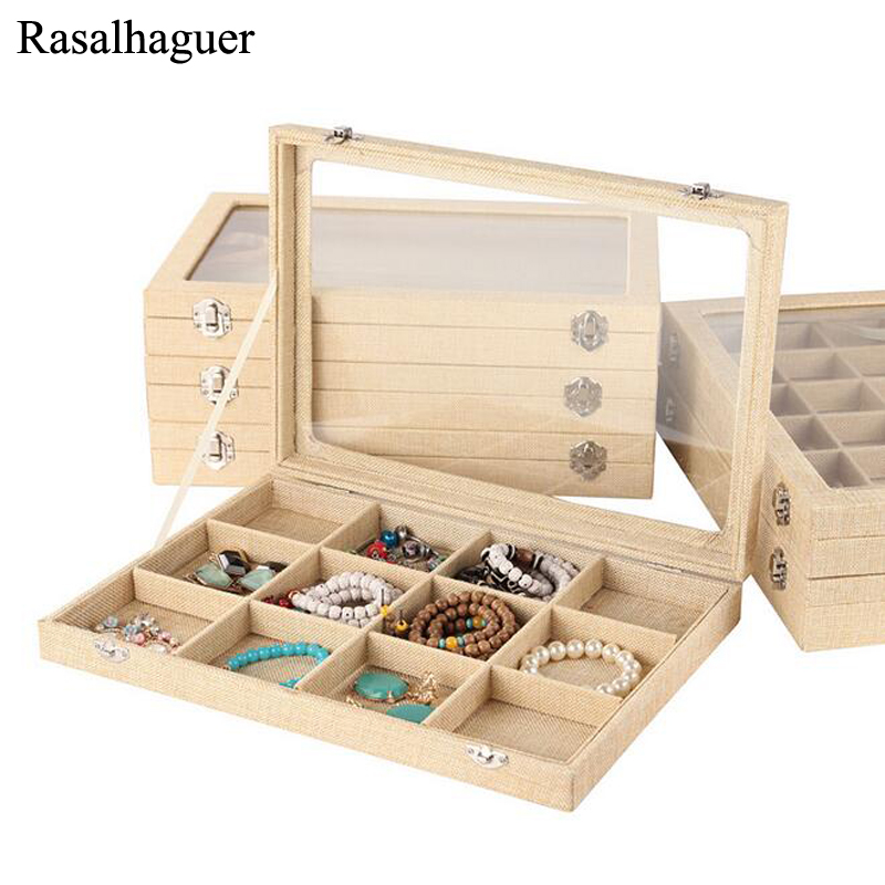 Hot Natural Linen Jewelry Box for Rings Earrings Bracelets Necklaces or other Ornaments Storage Jewellery Organizer Packaging цена