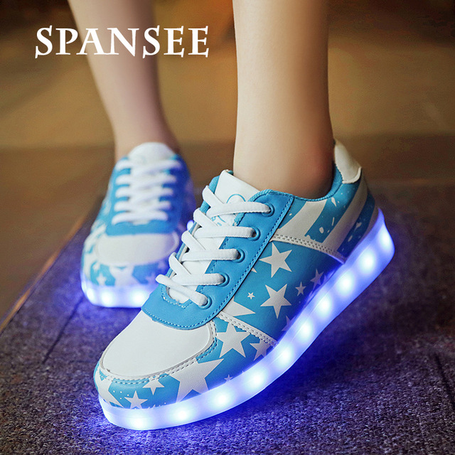 2018 Glowing Luminous Sneakers Feminino Baskets Light Up Shoes with Light Sole USB Charger Children Led slippers for Boy&Girl