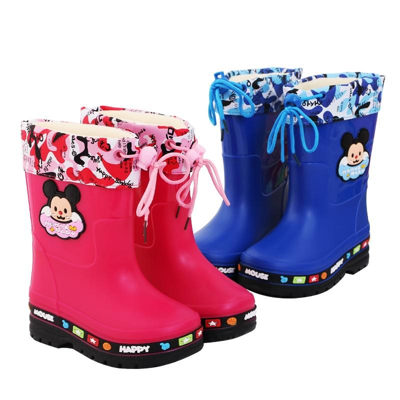 Baby Boy Girl Cartoon Rain Boot Snow Boot Cute Waterproof Shoe Children Slip Spring Autumn Winter Think boot pink Blue