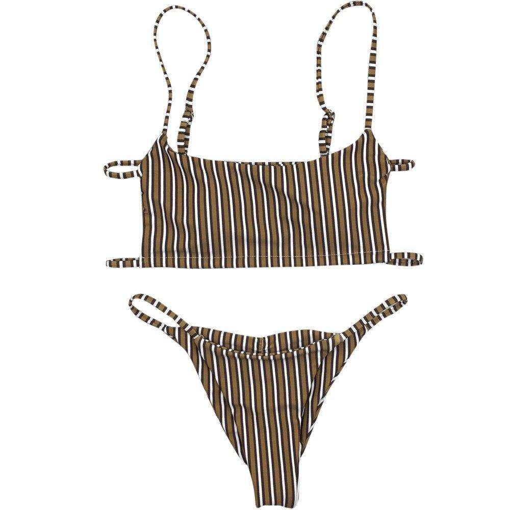 Кофе вертикальной полосой; ady купальник сексуальный мягкий бандажный купальник девушка летний пляжный костюм для Воления