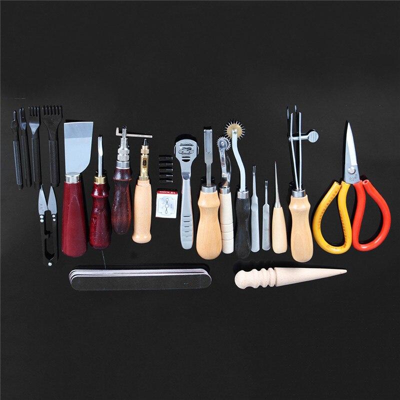 Новый 20 шт. набор кожа комплекта Инструменты Нитки шило вощеный наперсток комплект для ручной строчкой Вышивание тиснения DIY набор ручного ...