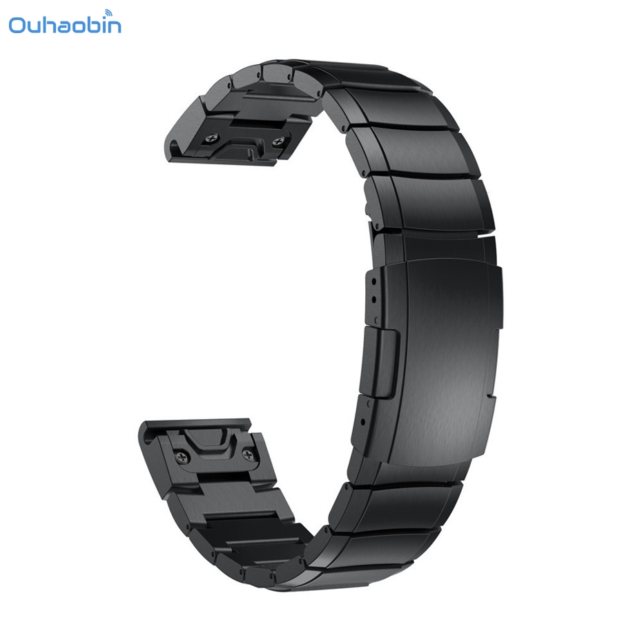 Ouhaobin Genuine Stainless Steel Bracelet Quick Replacement Fit Band Strap Wristband For Garmin Fenix 5X GPS Watch Straps Nov7 22mm woven nylon strap replacement quick release easy fit band for garmin fenix 5 forerunner935 approach s60