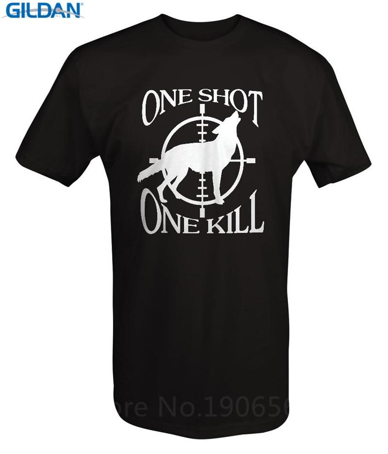 Рубашка на заказ Дизайн короткие ONE SHOT One Kill экипажа Средства ухода за кожей Шеи Мода 2017 Футболки для девочек для Для мужчин
