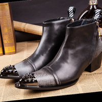 Men Luxury Ankle Boots Metal Pointed Men Party Dress Formal High Heels Fashion Men Club Bar Cowboy Boots