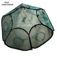 6 holes folding fishing net outdoor tool rede de pesca shrimp trap network cage fish supplies