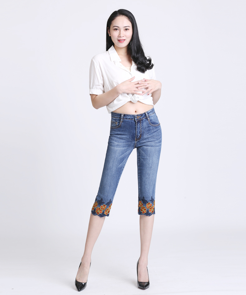 KSTUN FERZIGE women jeans shorts calf-length pants Elastic thin summer flower embroidery light blue push up skinny slim fit denm jeans 11