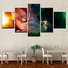 Top-Rated 5 Pieces HD Printing Painting Green Arrow Man And The Flash Type Poster Home Decor Modern Bedroom Living Room Artwork
