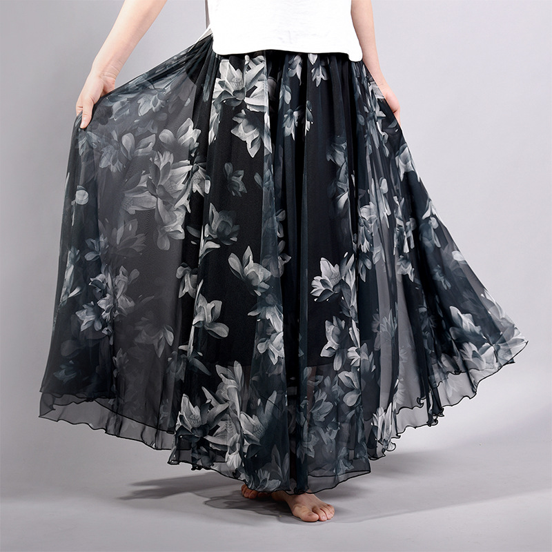 Women Chiffon Skirt Floral Floor Length Women Long Maxi Skirts Loose Boho Beach Skirt 2018 New Summer Skirt jupe femme