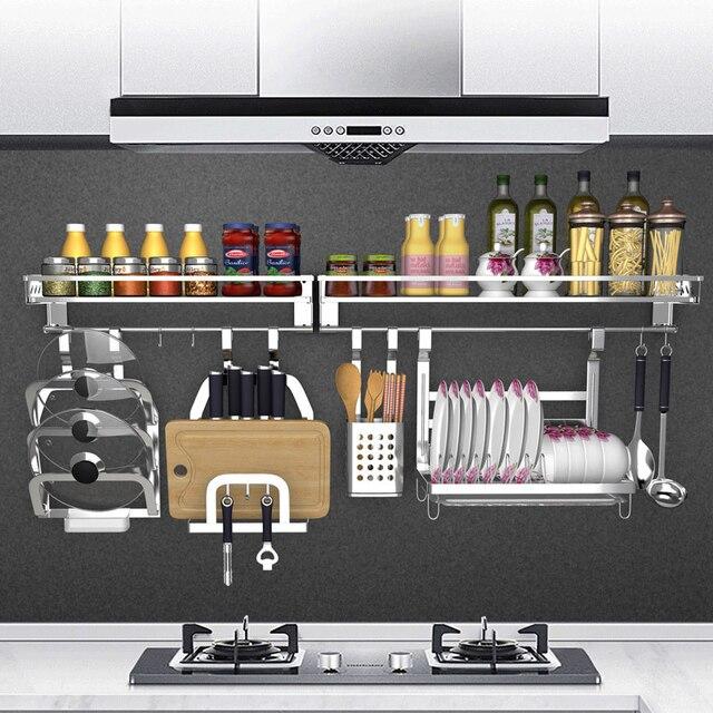 Titular Rack De Armazenamento De Cozinha Em Aço inoxidável Unha Livre Prateleira de Parede Pendurado Rack de Armazenamento de Garrafas de Tempero de Cozinha Ferramentas Do Organizador