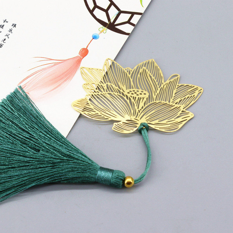 Golden Lotus Chinese Wind Classical Water Lily Says Bookmark Brass Gift Fringed Zen Buddhism Gift Stationery
