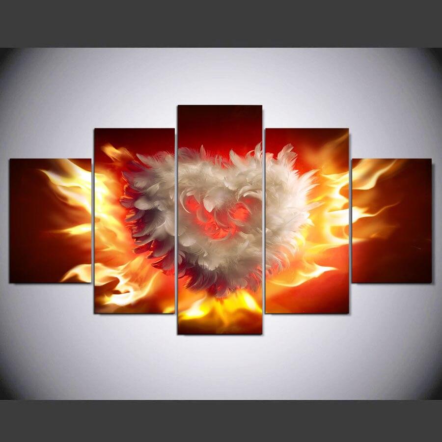 5 панель HD отпечатано живопись огонь любви холст домашнего декора стены искусства картины для гостиной картины по номерам на холсте картины...