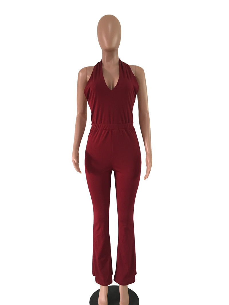 women sexy deep v backless lace-up halter flare pants jumpsuit-12