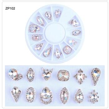 1box Nail Rhinestones 12 Designs 3D Nail Art Charms Stones Glitter Wheel Rhinestone Crystal AB Nail Jewelry Nail Art Decor Tools 10pcs 3d nail jewelry charm red diamond rhinestone charms rhinestones for nail glitter diy nail art decorations 2019