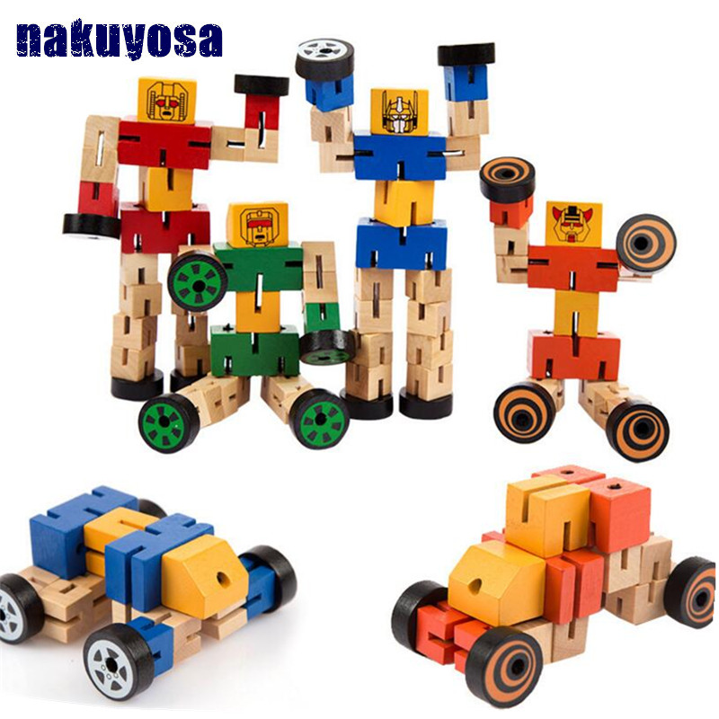 Montessori Wooden Transform Robot Building Blocks Kids Toys For Children Educational Learning Intelligence Gifts