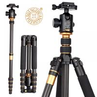 Q666C Professional Photography Carbon Fiber Stand Tripod Monopod with Ball head Travel Tripod For DSLR