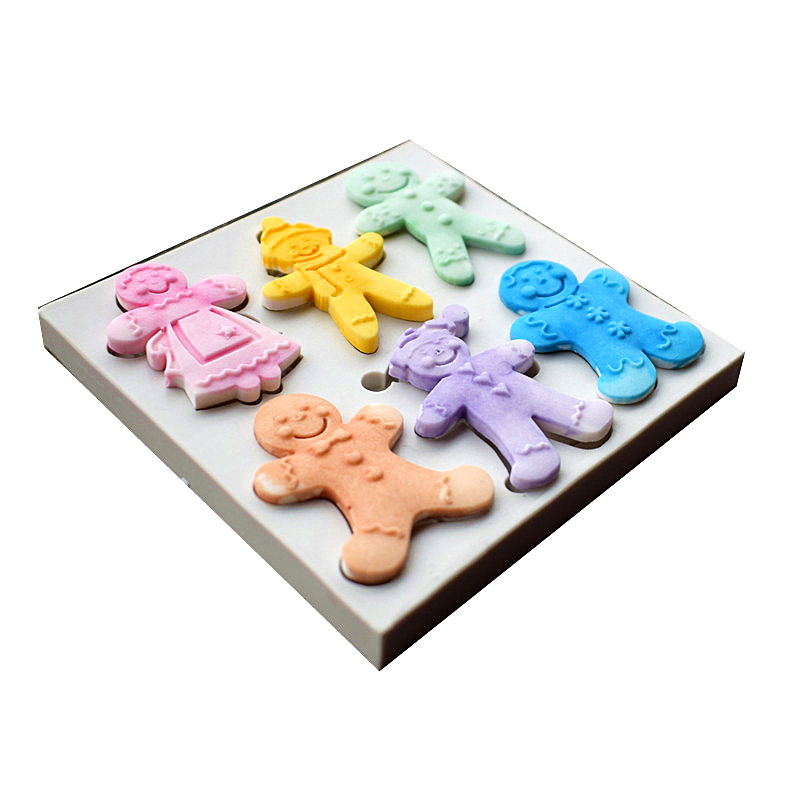 6 Cookies Dolls Silicone Molds, Christmas Sugar Cake Molds, Cake - Kitchen, Dining and Bar - Photo 2