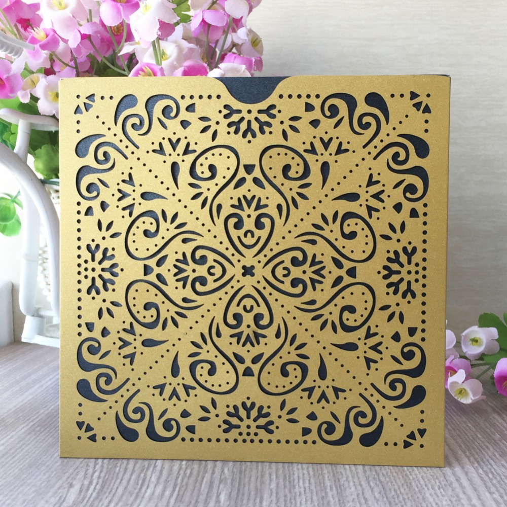 Luxury Pocketfold Wedding Invitations: 30pcs X Pocket Design Luxury Gold Wedding Birthday Party