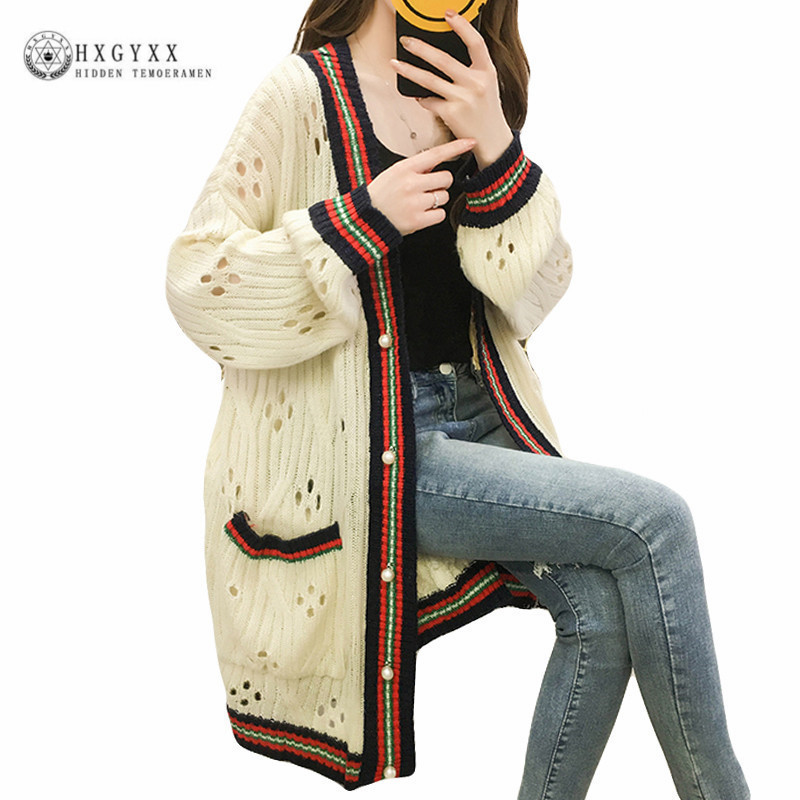 2018 New Autumn&Winter Knitted Crochet Sweater Women Long Twisted Cardigan V-neck Stripe Open Female Sweaters Cardigan Okd155 ...