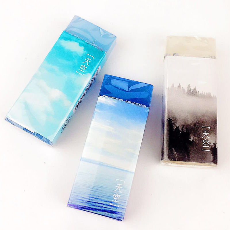 Cute Sky Pen Pencil Erasers Kawaii Mechanical School Rubbers For Kids Gift Korean Stationery Student 2734