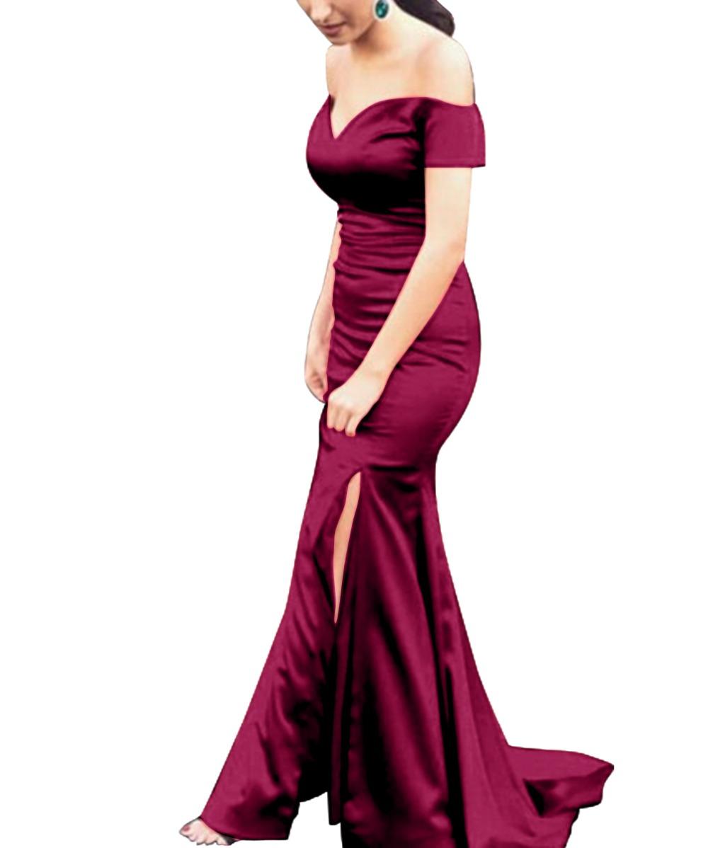 US $20.20 20% OFFVKBRIDAL Elegant Satin Off Shoulder Mermaid Long  Bridesmaid Dresses Muslim vestido de festa Abendkleid Party Birthday
