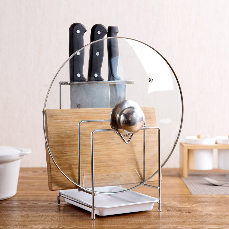 Stainless Steel Pot Lid Rack Cutting Board Rack Kitchen Knife Rack Choping Board Rack Kitchen Tools Dish Drying