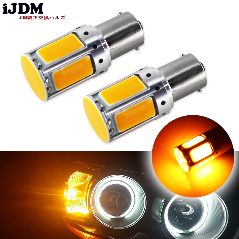 4pcs No Resistor Required Amber Yellow COB LED 1156 7506 7528 BA15s P21W LED Bulbs For Front Turn Signal Lights(No Hyper Flash) 2x led canbus no errors 1156 7506 7528 ba15s p21w led bau15s py21w for audi a4 q3 q5 sq5 a6 s6 a3 quattro no flashing yellow
