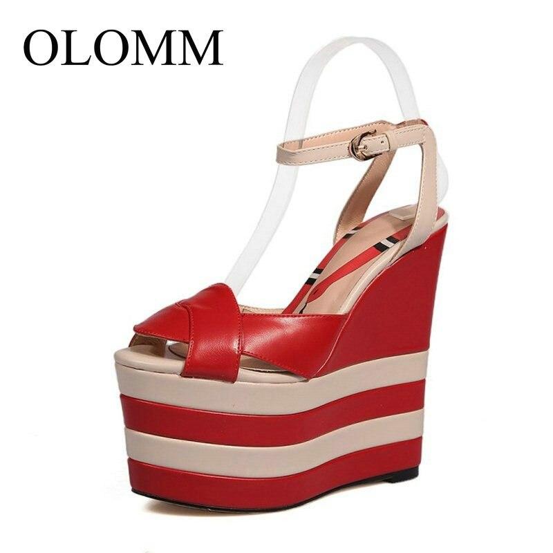 Olomm 6 색 크기 34 40 간단한 여성 진짜 정품 가죽 높은 웨지 샌들 발목 스트랩 들여다 발가락 플랫폼 여름 신발 TT 211-에서하이힐부터 신발 의  그룹 1