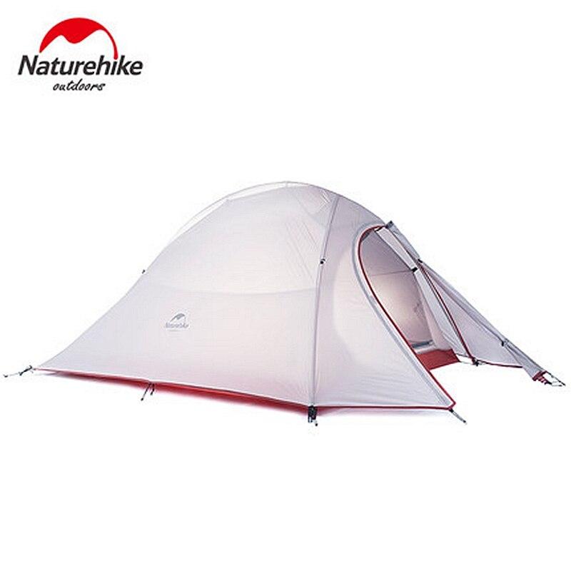 1.2 KG Naturehike Tente 20D Silicone Tissu Ultra-Léger 2 Personne Double couches En Aluminium Tige de Camping Tente 3 Saison Avec 2 Personne tapis
