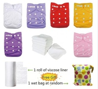 6 PCS Baby Girl One Size Washable Waterproof Snaps Adjustable Baby Cloth Diaper Nappy With 6 Inserts