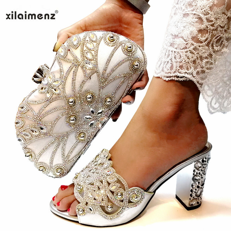 2019 Silver Color Special Arrivals Wedding African Party Shoes with Matching Bags Ladies Shoe and Bag