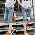 High Quality 2017 Male summer jeans denim shorts men capris slim short trousers male beach shorts hole solid straight