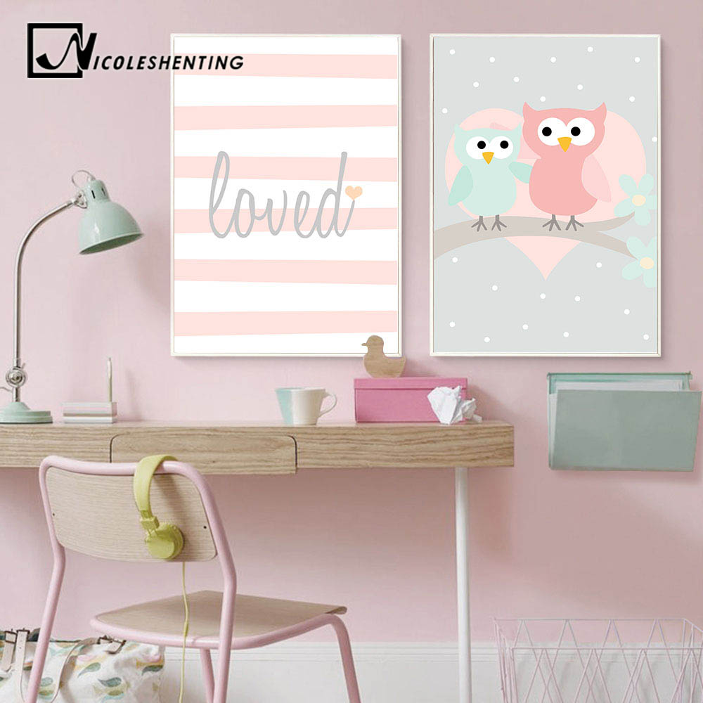 Cartoon Woodland Animal Owl Poster Print Baby Girl Nursery Wall Art Canvas Painting Nordic Decoration Picture Kids Bedroom Decor Painting Calligraphy Aliexpress