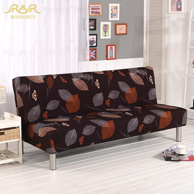 Romorus 2018 Fashion Leaves Printed Sofa Cover Brown Full Wrap Elastic Slipcover For Fold