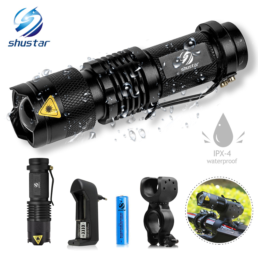 Waterproof Bike Light 5 Lighting Mode Bicycle Headlights LED Support Zoom By 14500/18650 Battery Powered Night Riding Lighting