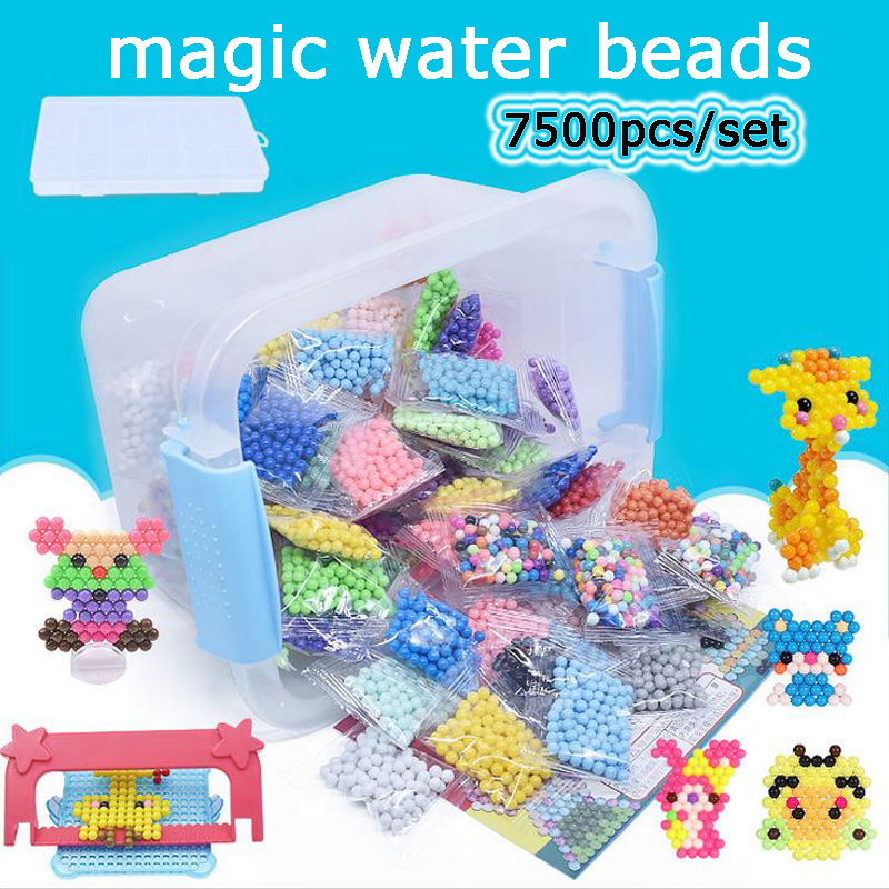 DOLLRYGA Jouet Enfant 7500Pcs/Set 36 Colors 5mm Water Spray Aqua Perlen Magic Beads Educational 3D Puzzles Accessories Kids Toys